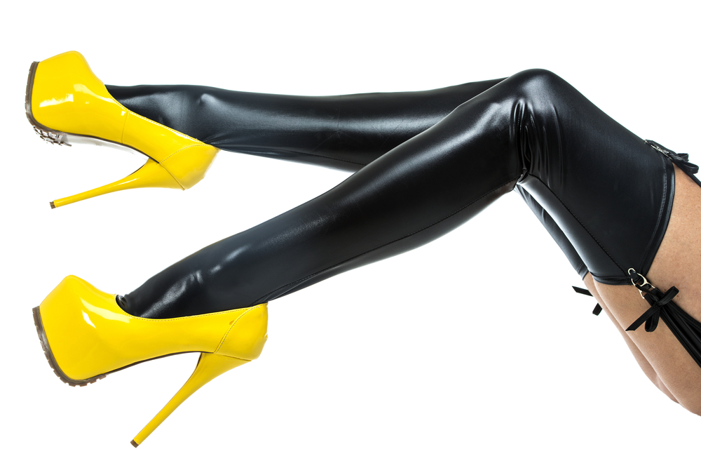 Woman in pvc stockings and yellow stilettos for Your Guide to Fetishes