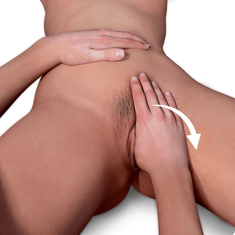 man's hand in a woman's vagina preparing to do the sundial massage